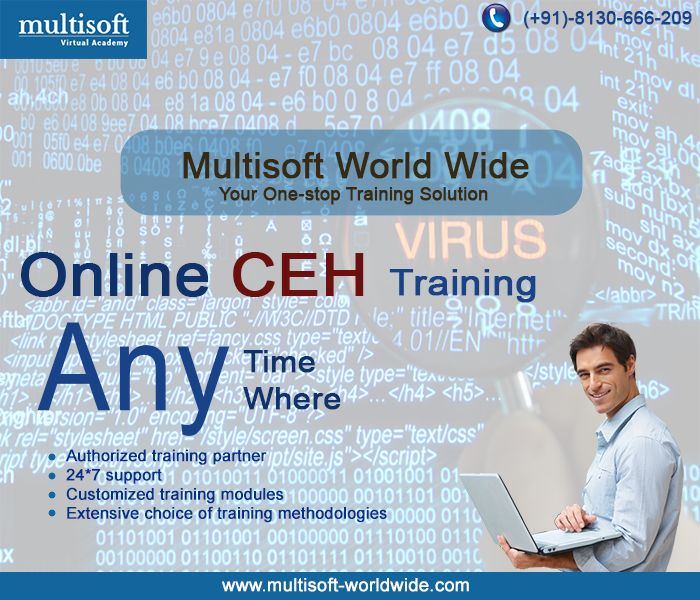 Excited about Ethical Hacking!! Get #Online CEH #Training from #Multisoft Worldwide and be a Certified Ethical Hacker, anywhere anytime.  Click Here:http://goo.gl/yACvyx  Mobile : +91-8130-666-209 Email : enquiry@multisoft-worldwide.com  #Academy #Certified #Hacker #Institute #Classes #MW