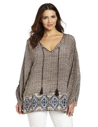 Tolani Women's Plus-Size Sarah Shirts, Ikat, 3X