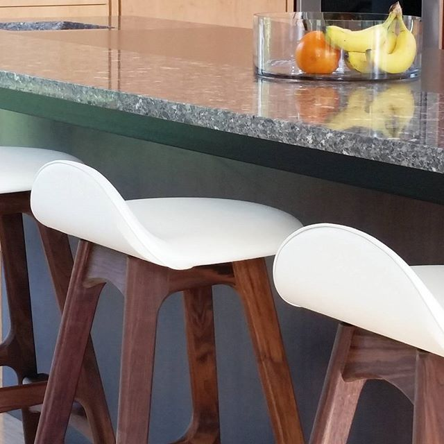 Erik Buch, Walnut and Creme leather looking tough and hungry for breakfast.  #ErikBuch #ErikBuck #barstool #madeindenmark #danishdesign #DanishModern #scandinaviandesign #kitchendesign #walnutbarstool #walnutfurniture #moderndesign #bardesign #walnut #walnutkitchen #stool #leatherbarstool #leatherstool