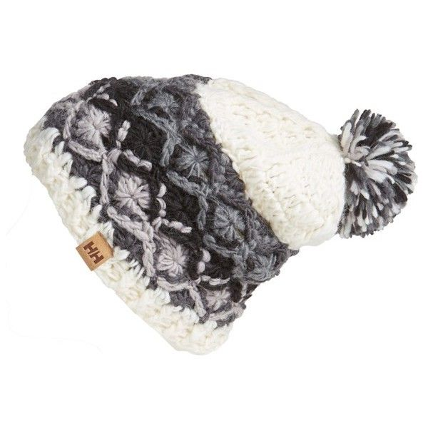 Women's Helly Hansen Wool Blend Beanie (120 BRL) ❤ liked on Polyvore featuring accessories, hats, offwhite, helly hansen beanie, helly hansen hat, chunky beanie, pom pom hat and beanie cap hat