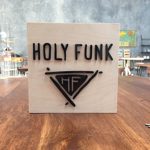 It's been 9 months since we started sharing a workspace with @holy_funk. Time to put up a sign.  #lasercut black acrylic on 18mm birch plywood. Acrylic is an awesome alternative to print for outdoor signage. We can do these  in any shape and size.