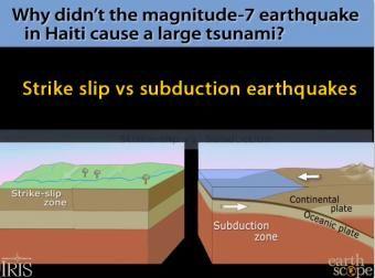 Haiti's 2010 earthquake: strike slip vs subduction Why didn't the earthquake cause a tsunami?