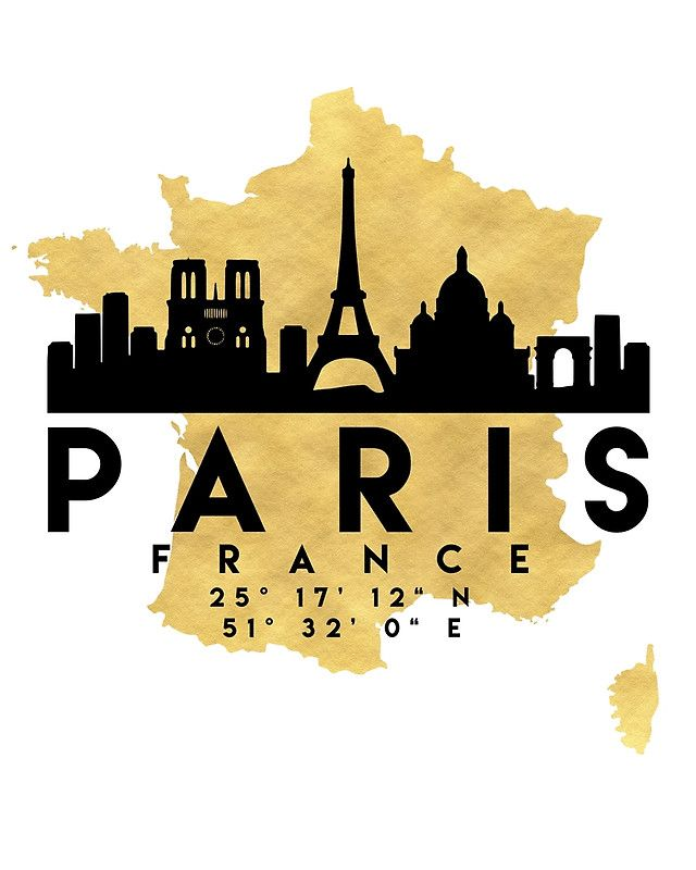 PARIS FRANCE SILHOUETTE SKYLINE MAP ART -  The beautiful silhouette skyline of Paris and the great map of France in gold, with the exact coordinates of Paris make up this amazing art piece. A great gift for anybody that has love for this city.  paris france downtown silhouette skyline map coordinates souvenir gold deificus art