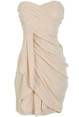 Dreaming of You Chiffon Drape Party Dress in Champagne. Cute rehearsal dinner dress