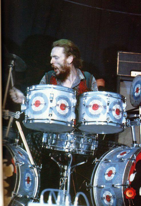 Ginger Baker with Air Force era drum set!!!