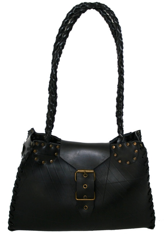 Recycle rubber bag with braided strap by TSRUBBERBAGS on Etsy, $177.00