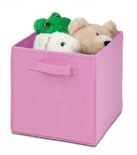 """Honey-Can-Do SFT-01762 Kids Storage Bins, Soft and Foldable Organizers, Pink by Honey-Can-Do. $5.19. Storage cube dimensions are 10.6""""x10.6""""x11.4"""". Folds flat when not in use with a removable bottom board. 3mm paperboard substrate for the rigid portion and durable polyester covers entire bin. Pink storage bin has reinforced handle. Suggested use with honey-can-do storage cubes - search: """"shf-01794"""". Honey-Can-Do SFT-01762 Honey-Can-Do SFT-01762 Kids Storage Bins, Soft and Fol..."""