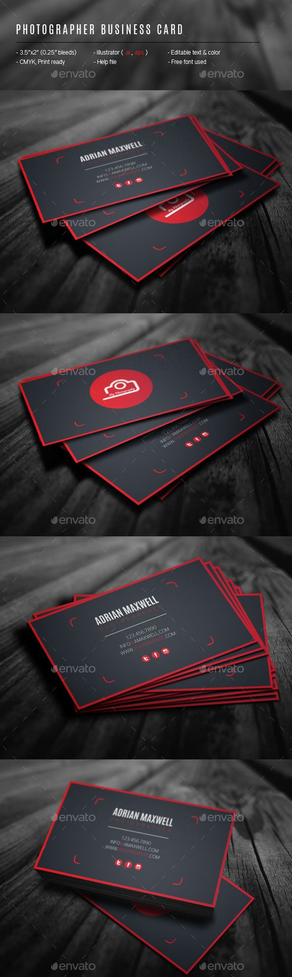 Photographer Business Card Template #design Download: http://graphicriver.net/item/photographer-business-card/12447034?ref=ksioks