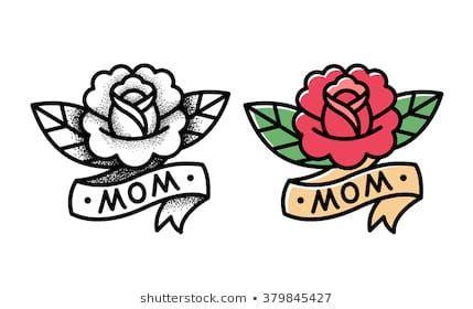 Rosafarbene Tätowierung der alten Schule mit Band und Wort Mutter. Zwei Varianten, traditionelles Schwarz …   – Tatuate