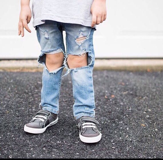 "Toddler Distressed Jeans- Vintage Wash ""Carolina Coast Jeans"" // Baby/Toddler Girl Holey Jeans // Baby Boy Ripped Denim, Large Knee Holes"