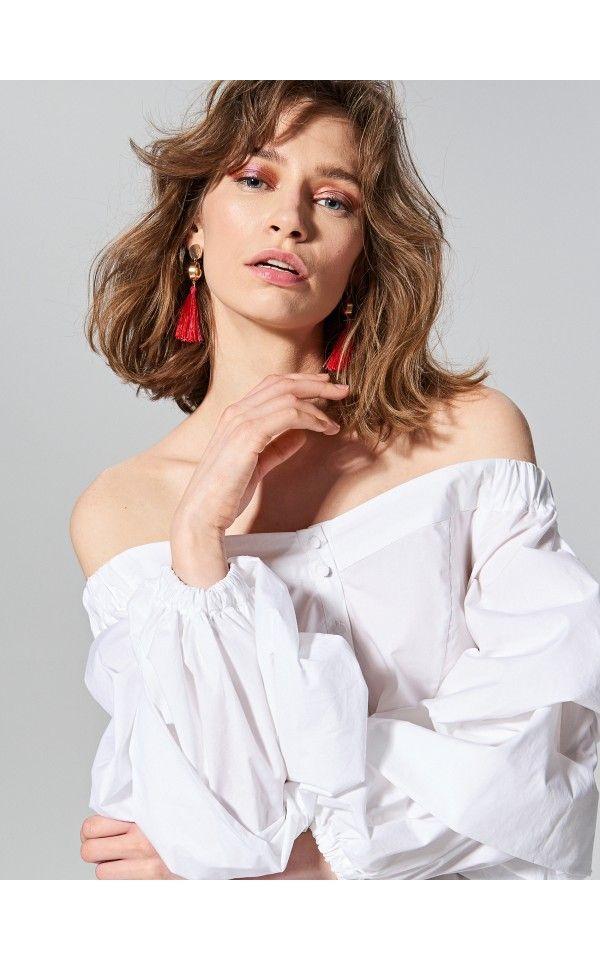 W Mega Koszula typu hiszpanka, Bluzki, biaŁy, RESERVED | Daria- modowo YV17