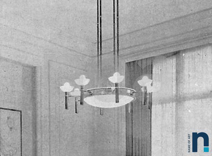 POILLERAT décorateur circa 1952 suspension lustre fer forgé