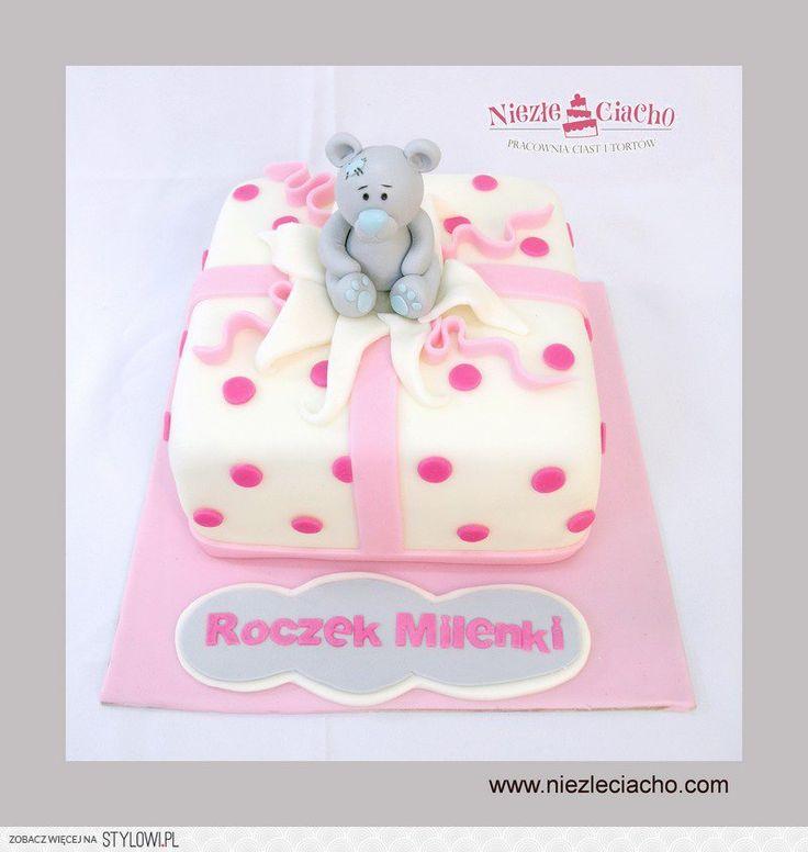 Misiu, tort z misiem, tort w kropki, różowy tort dla dziewczynki, tort urodzinowy, torty dla dzieci, urodziny dziecka, 1 roczek, 1 urodziny, dziecko, Tarnów