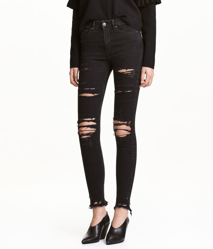 Check this out! 5-pocket jeans in washed stretch denim with heavily distressed details. High waist and skinny, ankle-length legs. - Visit hm.com to see more.