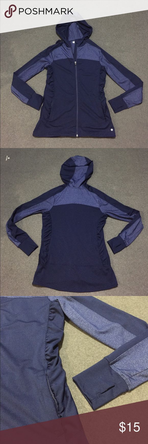 Navy Blue Lightweight Active Wear Jacket This is a women's small, navy blue & heathered navy blue workout jacket. It's lightweight, made of polyester & spandex, so it's comfortable & has some stretch. Features hood, thumb holes, two zip pockets, and flattering fit (including some rouching details). Love this jacket, but I have too many and it has been sitting my closet NOT getting used. 😕 EUC. Xersion Jackets & Coats