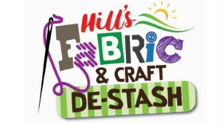 Logo for the Hills Fabric and Craft de-Stash events.