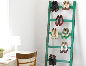 Heels and shoes stored on a ladder - 9 Space Saving Shoe Storage Ideas