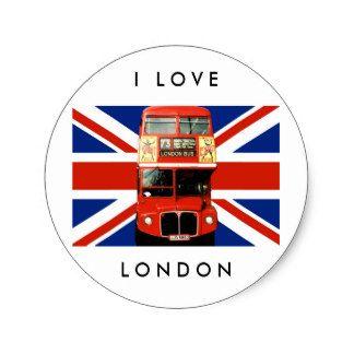 Pegatinas de Londres con el autobús y la bandera Pegatina Redonda