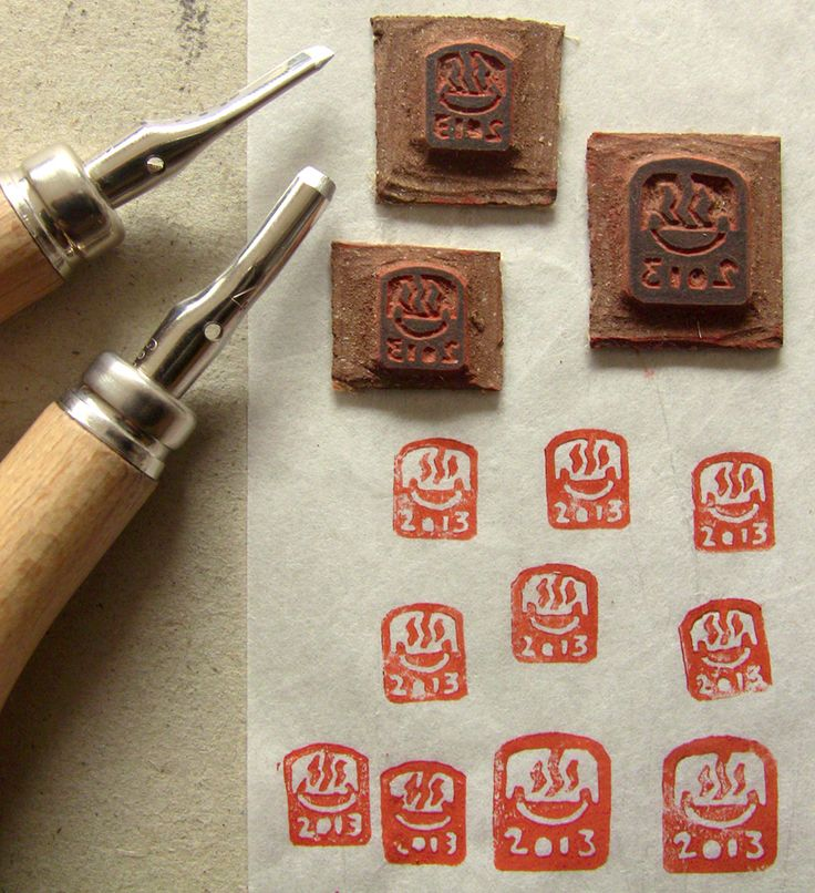 Creating our 2013 homemade inkan. We'll use them to stamp our prints.The small ones have the size of a fingernail.