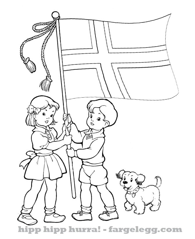 17 mai barnetoget med Norsk flagg fargeleggingstegninger , hipp hipp hurra 17…