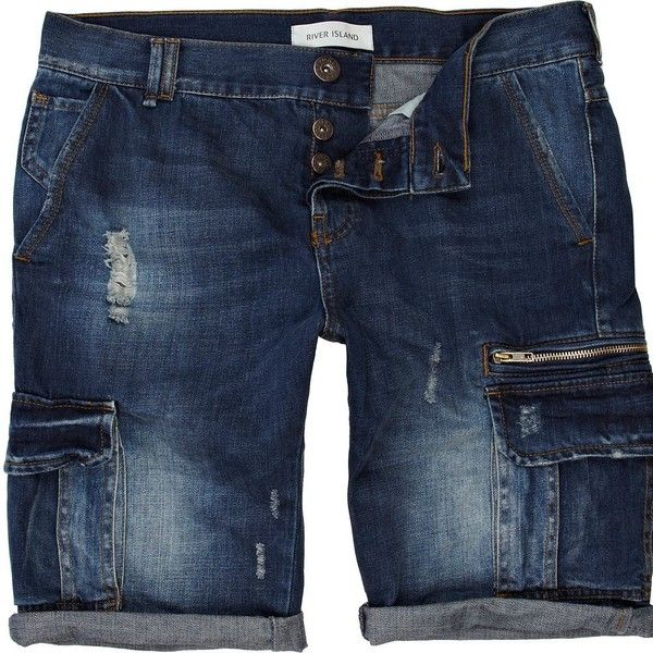 River Island Blue distressed denim cargo shorts ($29) ❤ liked on Polyvore featuring men's fashion, men's clothing, men's shorts, shorts, sale, mens distressed denim shorts, mens blue cargo shorts, mens blue jean shorts and mens cargo shorts