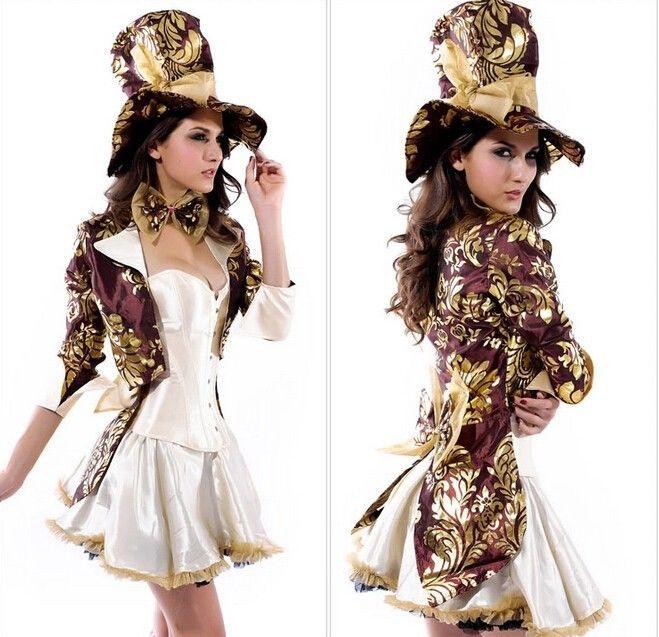 Sexy Women Deluxe Mad Hatter Tea Party Alice In Wonderland Fancy Dress Costume M #New #Dress