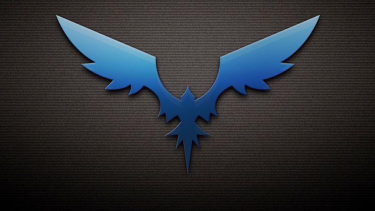 синий феникс на тесно-сером фоне в полоску, черная тень, крылья 1920x1080