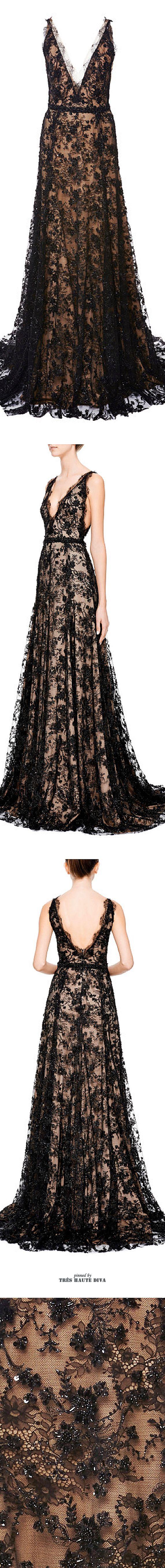 ♕ Marchesa ♕  Vestido largo de encaje con piedras negro sobre un forro color carne.  Tirantes finos y escote en v delantero y trasero. ♥♥