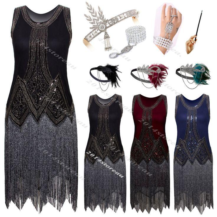 Gatsby 1920s Flapper Dress Vintage Deco Fringe 20s Tassel Party Evening Clubwear #Unbranded #BallGownEveningGownFringe1920s20s #CocktailEveningFormalPromWedding20s