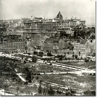 December 27, 1944 - Soviet troops besiege Budapest. A view of Buda Castle from the slopes of Gellert Hill