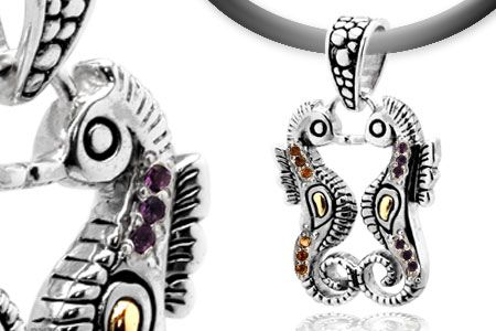 Silver and gold seahorse pendant with citrine and amethyst,animal collection