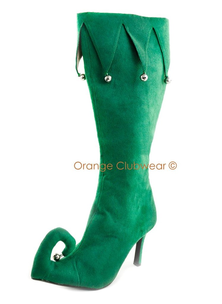 Womens Xmas Christmas Elf Costume Party Boots Holiday High Heels   eBay