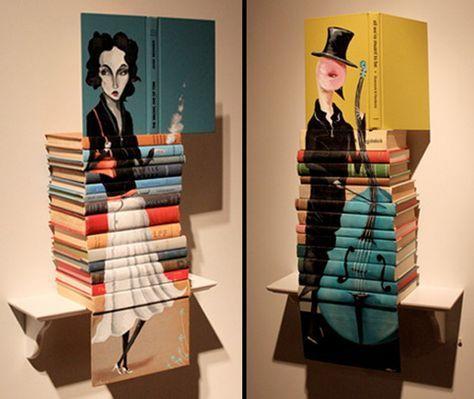 Mike Stilkey cria esculturas gigantesca com base de livros usados. o Artista usa lápis de cor para pintar e retratar alguns personagens do seu dia a dia confor