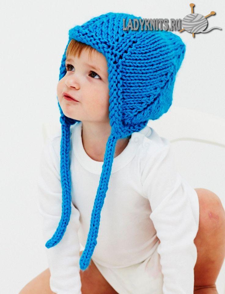 вязаная спицами детская шапка