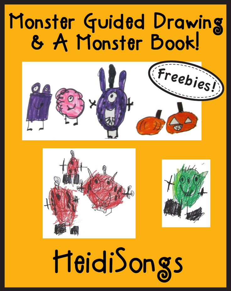 Monster Guided Drawing & Monster Book Freebie from HeidiSongs!