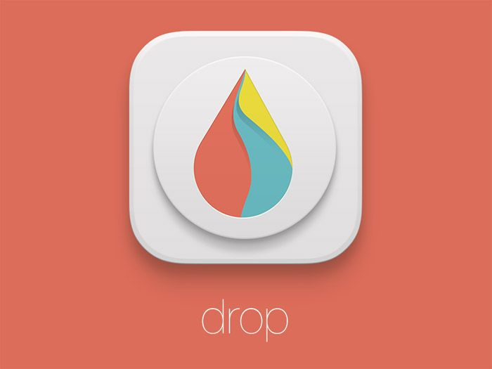 Wonderful App Icon example... Drop logo with 3 pastel colors, and an amazing bevel effect!