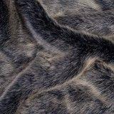 Tissu fausse fourrure poils longs noir gris
