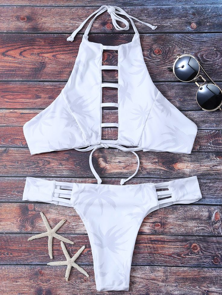 $19.99 Ladder Cutout Halter Bikini - WHITE S
