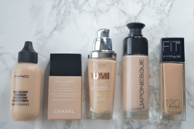 Hydrating foundations for a dewy, luminous look--perfect for dry winter skin! L-R: MAC Face and Body Foundation, Chanel Vitalumiere Aqua Foundation, L'Oreal True Match Lumi Makeup, Japonesque Luminous Foundation, Maybelline Fit Me Foundation. Review via @xovain