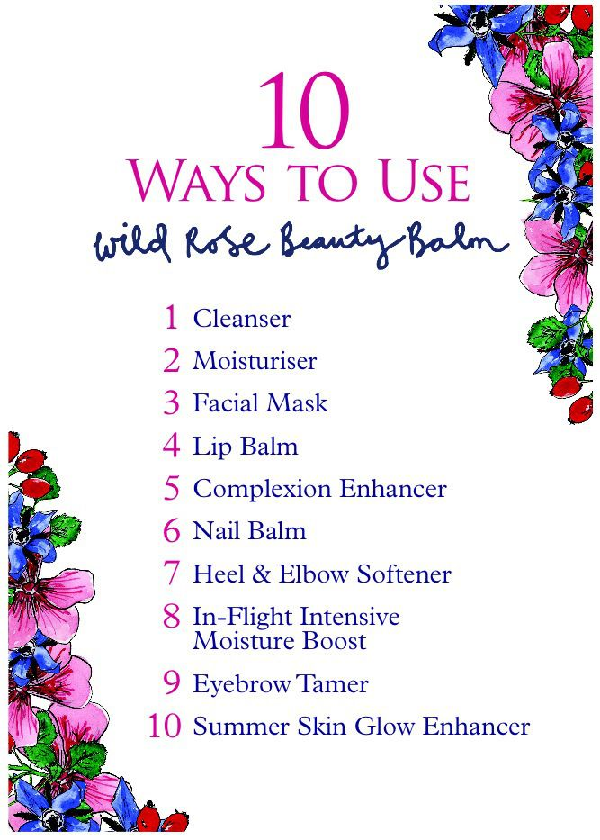 10 ways to use NYR Organic Wild Rose Beauty Balm https://us.nyrorganic.com/shop/corp/product/0568A/wild-rose-beauty-balm-limited-edition-1-76oz/?a=12&cat=0&search=wild rose beauty balm