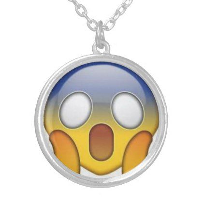 Shocked Emoji Silver Plated Necklace - jewelry jewellery unique special diy gift present