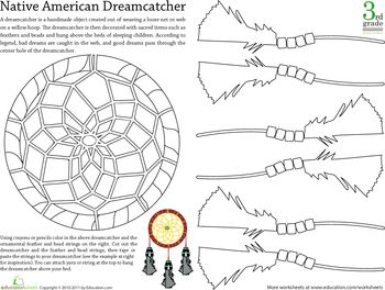 Worksheets: Color a First Nations Dreamcatcher