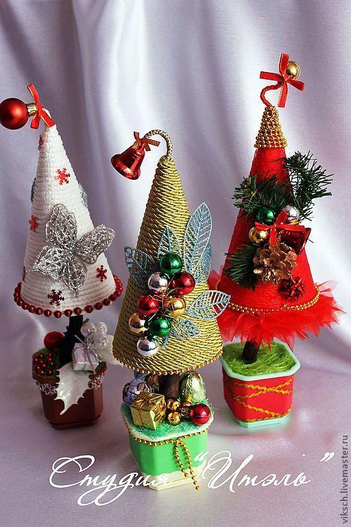 Купить Забавные елочки - сизаль, флористические материалы, елка новогодняя, елка ручной работы