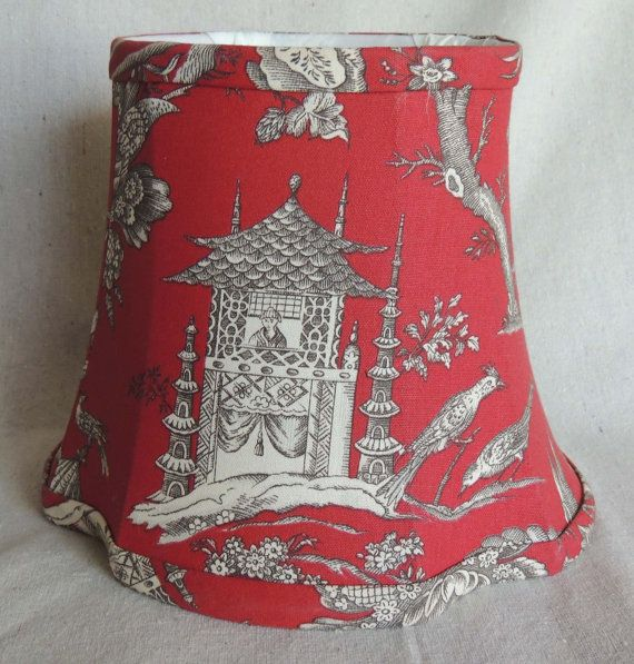 Red Lamp Shade Red Scenic Lamp Shade Red by ChanteclairInteriors