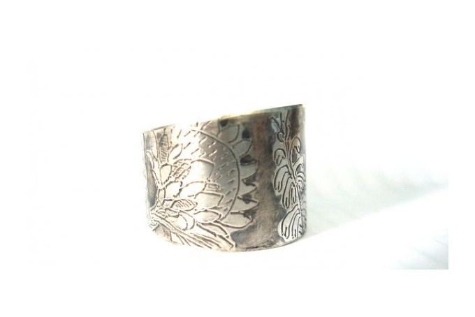 Hand Engraved, Protea & Erica SA Flora Ring. In sterling silver. by Antique Fusion Jewellery