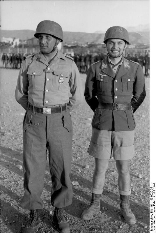Horst Trebes (right) with W. Gericke in July 1941.- The Massacre of Kondomari (Greek: Σφαγή στο Κοντομαρί) refers to the execution of male civilians from the village of Kondomari in Crete by an ad hoc firing squad consisting of German paratroopers on 2 June 1941 during World War II.[1] The shooting was the first of a series of reprisals in Crete. It was orchestrated by Generaloberst Kurt Student, in retaliation for the participation of Cretans in the Battle of Crete which had ended with the…