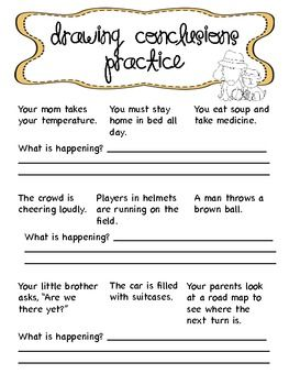 Worksheets Drawing Conclusions Worksheets 3rd Grade 1000 ideas about drawing conclusions on pinterest inference freebie teacherspayteachers com