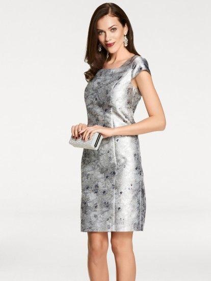 Rochie elegantă de damă cu mânecă scurtă ASHLEY BROOKE BY HEINE - argintiu