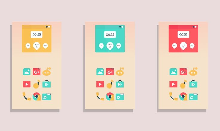 Minimal attractive theme using just basic colors : androidthemes