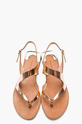 DIANE VON FURSTENBERG Rose Gold Metallic Leather Daphne Sandals